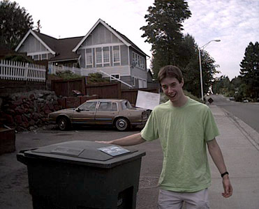 Cameron Is Happy About The Garbage Can