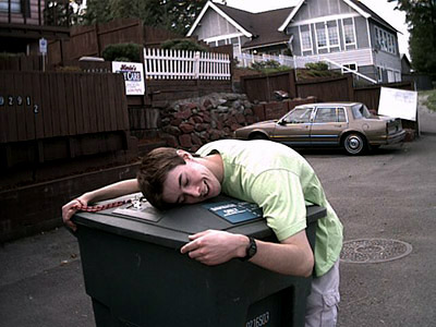 Cameron Hugs A Garbage Can